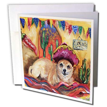 3dRose Melissa A. Torres Art Fiesta Art - Image of Chihuahua in a Cantina Wearing Sombrero Laying on Poncho - 12 Greeting Cards with envelopes (gc_287452_2)
