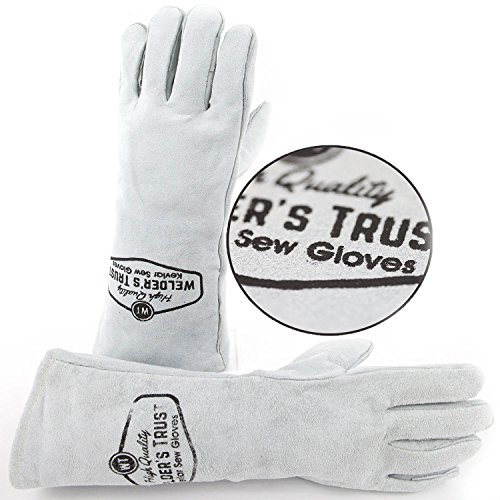 Heavy Duty Thick Welding Gloves - Small Size Hands with Long Sleeves - Great for Stick TIG and MIG welding - Premium Leather with Kevlar Lining - Welders Hand Heat Protection - 90 Days Guarantee