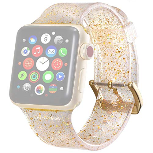 Price comparison product image Sunday88 Silicone Replacement Wrist Band Watch Strap for Apple Watch Gold