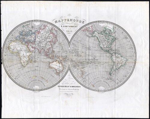 (Antique Map-WORLD-DOUBLE HEMISPHERE-MAPPE MONDE-Cortambert-1856)