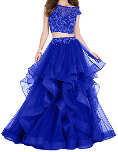 Neu Lang 2018 Ballkleider Rock Prinzess Linie Royal Abendkleider Blau Pailletten Charmant Zweiteilig Damen Promkleider A wARCq4