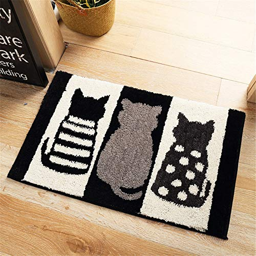 Price comparison product image KJDOOR Door mat Flocking mats Household Bathroom mats mats Bedroom Kitchen Bathroom Absorbent Door mats,  Black and White Cats