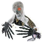 Halloween Haunters Scary Skeleton Groundbreaker with Moving Head & Arms Graveyard Prop Decoration A creepy crawly skeleton groundbreaking zombie that's trying to crawl out from his grave. It has animated movement is sound and touch activated. Thi...