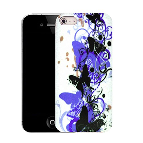 Mobile Case Mate IPhone 4 clip on Silicone Coque couverture case cover Pare-chocs + STYLET - blue creeping butterfly pattern (SILICON)