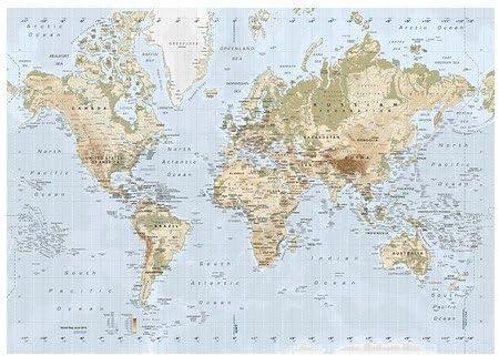 Ikea Premiar Bild Mit Rahmen Weltkarte 140x200cm Amazon De