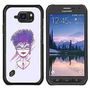 TECHCASE---Cubierta de la caja de protección para la piel dura ** Samsung Galaxy S6 Active G890A ** --Púrpura pelo de la mujer