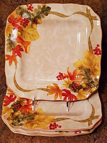 222 Fifth Autumn Celebration Square Dinner Plates, Set of 4, Harvest Thanksgiving ()