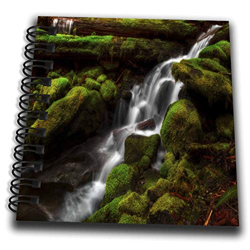 (3dRose Mike Swindle Photography - Landscapes - Creek Flowing Down Over Moss Covered Rocks - Mini Notepad 4 x 4 inch (db_307822_3))