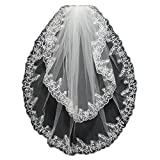 Aokaixin Women's 2T 2 Tiers Elegant Lace Appliques Wedding Veil With Comb