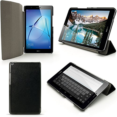 iGadgitz Premium Black PU Leather Smart Cover Case for Huawei MediaPad T3 8'' with Multi-Angle Viewing Stand + Auto Sleep/Wake + Screen Protector