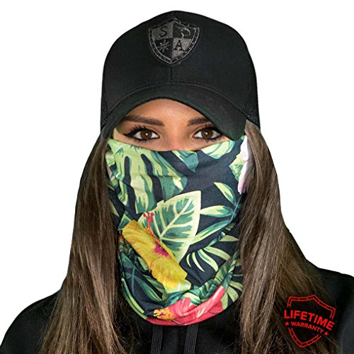 SA CO Official HAWAIIAN FLORAL Face Shield, Perfect for All Outdoor Activities, Protects Face Against the (Hawaiian Bandana)