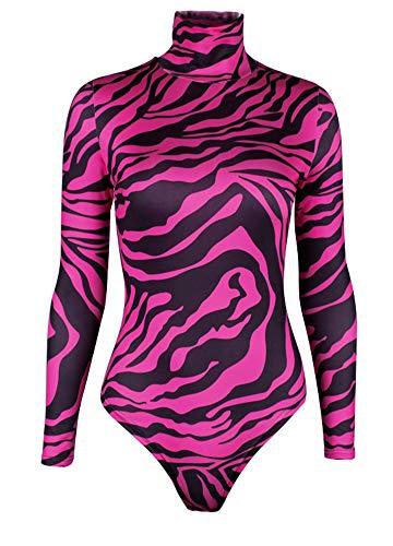 a2ec4f3abfe5 Romacci Women Turtleneck Long Sleeve Bodysuit Zebra Print Leotard Romper  Jumpsuit Rose