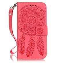 iPhone 7 Plus case,7s Plus case,[Wallet Stand] embossing PU Leather Wallet Flip Protective Case with Card Slots and Wrist Strap for iPhone 7 Plus Case(red)