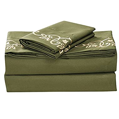 J.Home Fashions 1500 Thread Count Luxurious Comfortable Soft 4pc Bed Sheet Set (FULL, Olive)