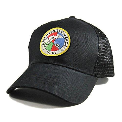 Homeland Tees Men's Wrightsville Beach Seal Patch All Black Trucker Hat - Gold Border