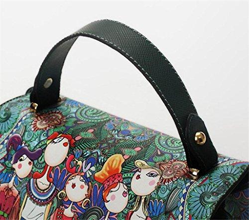 Sac Impression réglable Cuir SHOUTIBAO croisé Petit Sac Oblique Femme épaule PU à Seule Bandoulière carré Main qWptZ1W