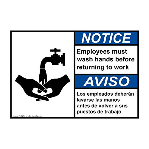 Notice Employees Must Wash Hands Bilingual ANSI Label Decal, 5x3.5 inch 4-Pack Vinyl for Handwashing by ComplianceSigns