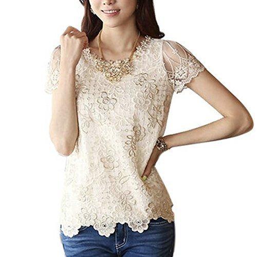 Women's Bead Print Short Sleeve Shirt