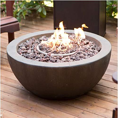 (CHOOSEandBUY 28-inch Round Gray Enviro Stone Fire Pit Bowl with Propane Tank Hideaway Table New Good Elegant Classic Sturdy)
