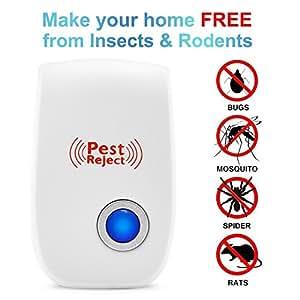 Ultrasónica repelente de plagas–Control Electrónico de plagas de insectos repelente al enchufe in-pest–ratones, cucarachas, Bugs, pulgas, mosquitos y arañas