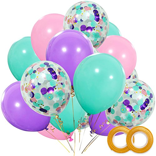 Unicorn Balloons 40 Pack, 12 Inch Light Purple Pink Seafoam Blue Latex Balloons with Confetti Balloon for Party Supplies Graduation Wedding Baby Shower Unicorn Birthday Decorations with Ribbon]()