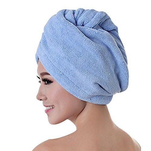 (Kaimao Microfibre Hair Drying Wrap / Turban , Absorbent and Quick Dry Hair Towel Cap Bath - Blue)