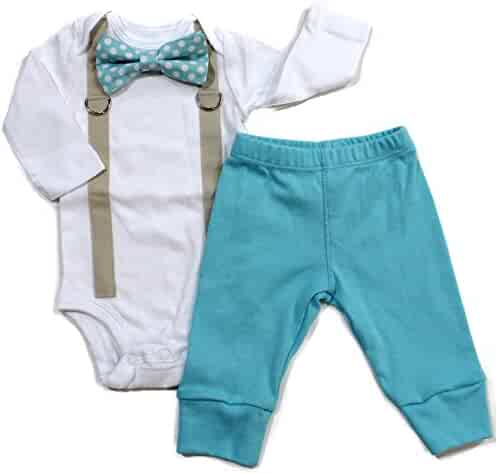 358630fb9 Cuddle Sleep Dream Baby Boy Coming Home Outfit with Bow Tie and Suspenders  in Aqua