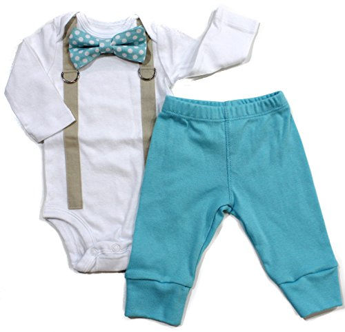 Baby Boy Coming Home Outfit with Bow Tie and Suspenders in Aqua (Newborn Long Sleeve)