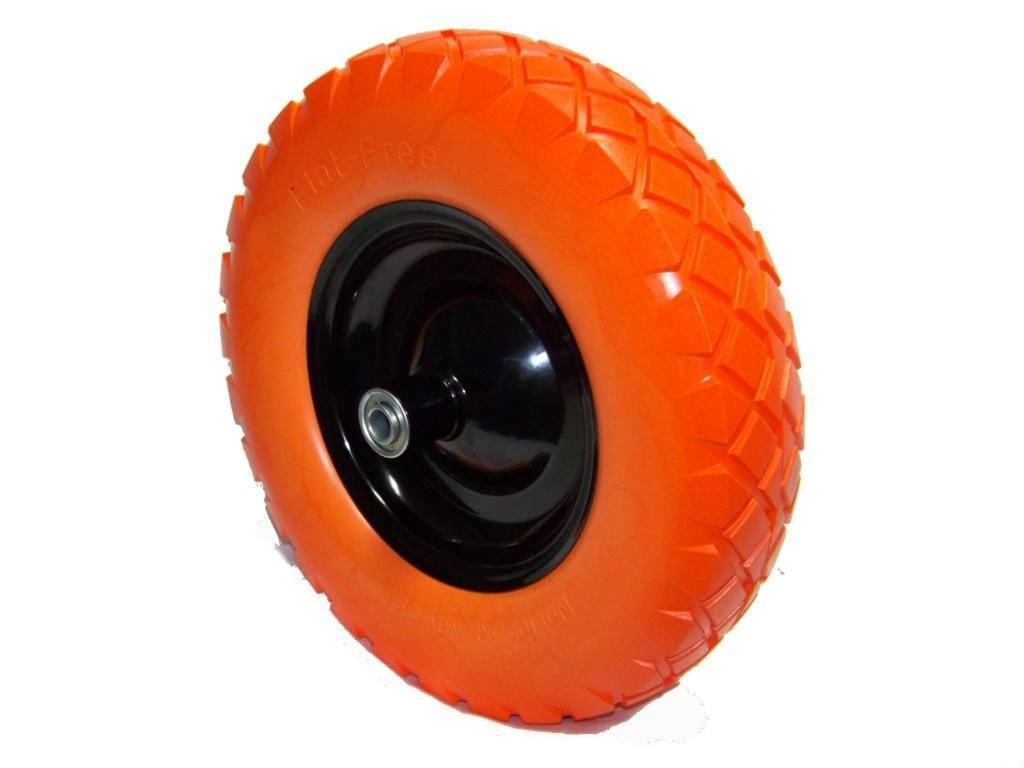 GHP Set of 2 16''x4''x8'' Light Weight Flat-Free Foamed Polyurethane Wheelbarrow Tire by Globe Warehouse