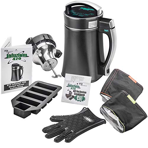 STX Infuzium 420 Herbal Botanical Butter Infuser Extractor Machine Complete Kit '2 Sticks/1 Cup up to 8 Sticks/4 Cups Butter' - Includes 2 Filters, Silicone Glove & Butter Mold & The Official Infuzium 420 Cookbook - Over 80 Magical Recipes/Tips (Infuzium 420 - Complete Kit)