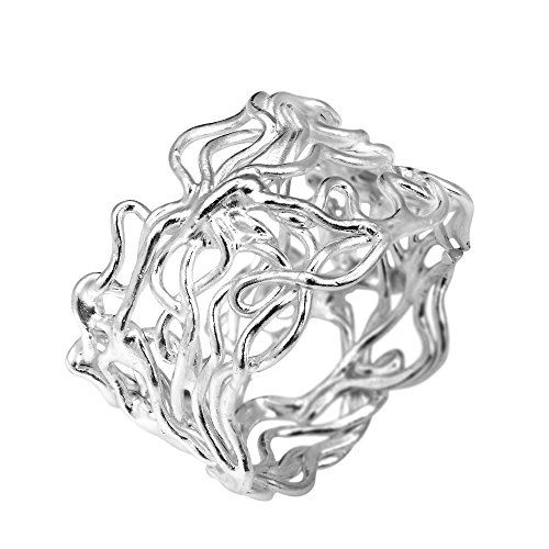 Modern Wire Mesh Twist Band .925 Sterling Silver Ring - Mesh Silver Band Shiny