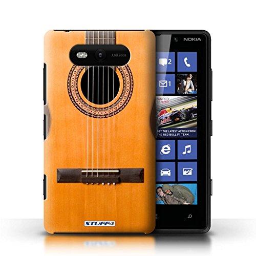 Etui / Coque pour Nokia Lumia 820 / Acoustique en Bois conception / Collection de Guitare