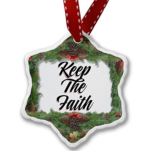 Christmas Ornament Vintage Lettering Keep The Faith - Neonblond by NEONBLOND