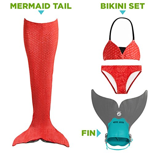 Tendol 3 Pieces Mono Fin Mermaid Tail For Swimming  Medium   Red
