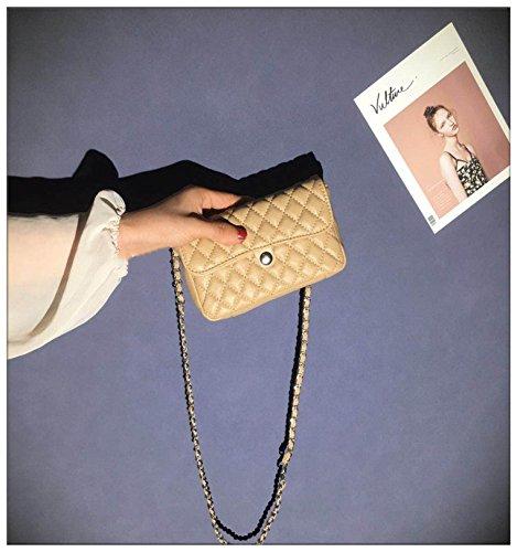 ZHANGJIA Small Wind, Diamante, Cadena, Bolso, Bolsillo, Mini Bag, Simple Bolsa de Hombro,Arroz Blanco Apricot color