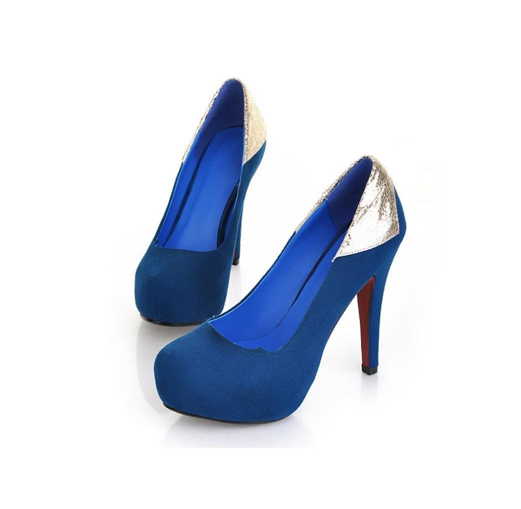 bleu-38 HIGHXE Ladies High Heels Stiletto Waterproof Platform Ladies Basse Chaussures Elegant Burst Splicing Party chaussures