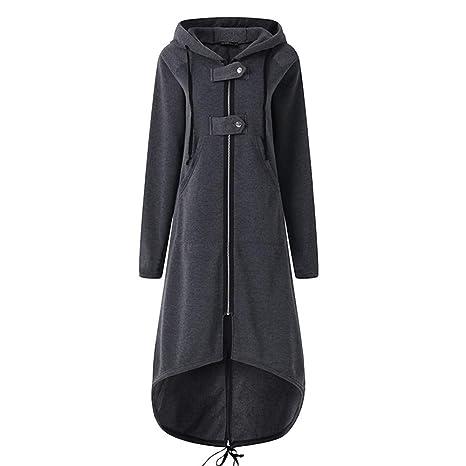 Amazon.com : Franterd Women Hooded Long Solid Coat with ...