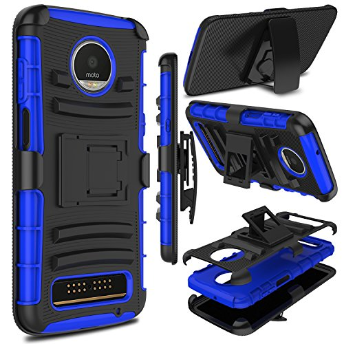 Moto Z3 Play Case, Moto Z3 Case, Zenic Heavy Duty Shockproof Full-Body Protective Hybrid Case Cover with Swivel Belt Clip and Kickstand for Motorola Moto Z3 Play (Blue)