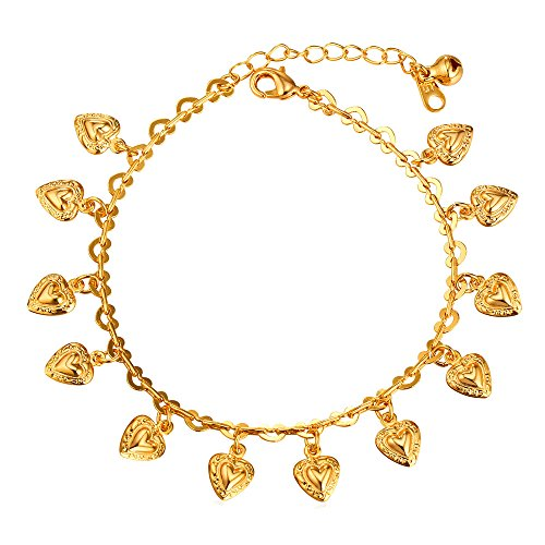 - U7 Heart Charm Bracelet for Ankle 18K Gold Plated Heart Link Chain Anklet Barefoot Sandals Leg Jewelry, 21-26CM Long