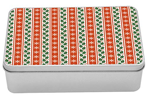 Ambesonne Snowflake Tin Box, Holly Berry Leaves and Snowflakes on Vertical Banners Christmas and New Year, Portable Rectangle Metal Organizer Storage Box with Lid, 7.2
