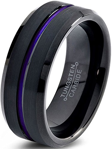 Tungsten Wedding Band Ring 8mm for Men Women Purple Black Beveled Edge Brushed Polished Size 10.5