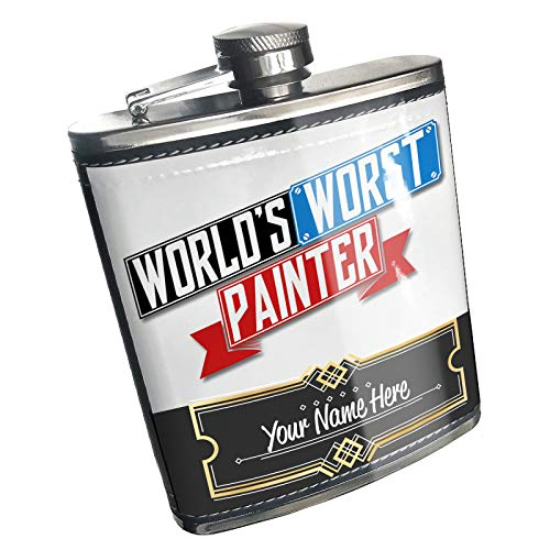 Neonblond Flask Funny Worlds worst Painter Custom Name Stainless Steel