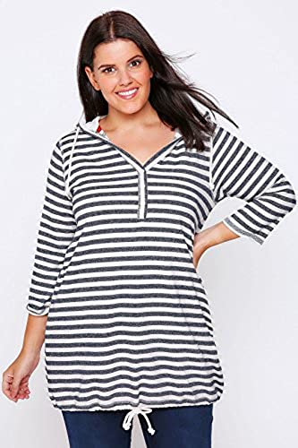 Yours Clothing Women/'s Plus Size Navy /& Purple Stripe T-shirt