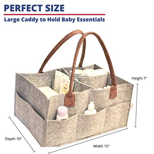 Lily Miles Baby Diaper Caddy - Nursery Diaper Tote Bag - Large Portable Car Travel Organizer - Boy Girl Diaper Storage Bin for Changing Table - Baby Shower Gift Basket - Newborn Registry Must Haves