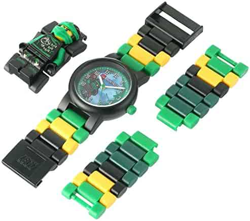 LEGO Ninjago Sky Pirates Lloyd Kids Minifigure Link Buildable Watch | green/black | plastic | 28mm case diameter| analogue quartz | boy girl | official