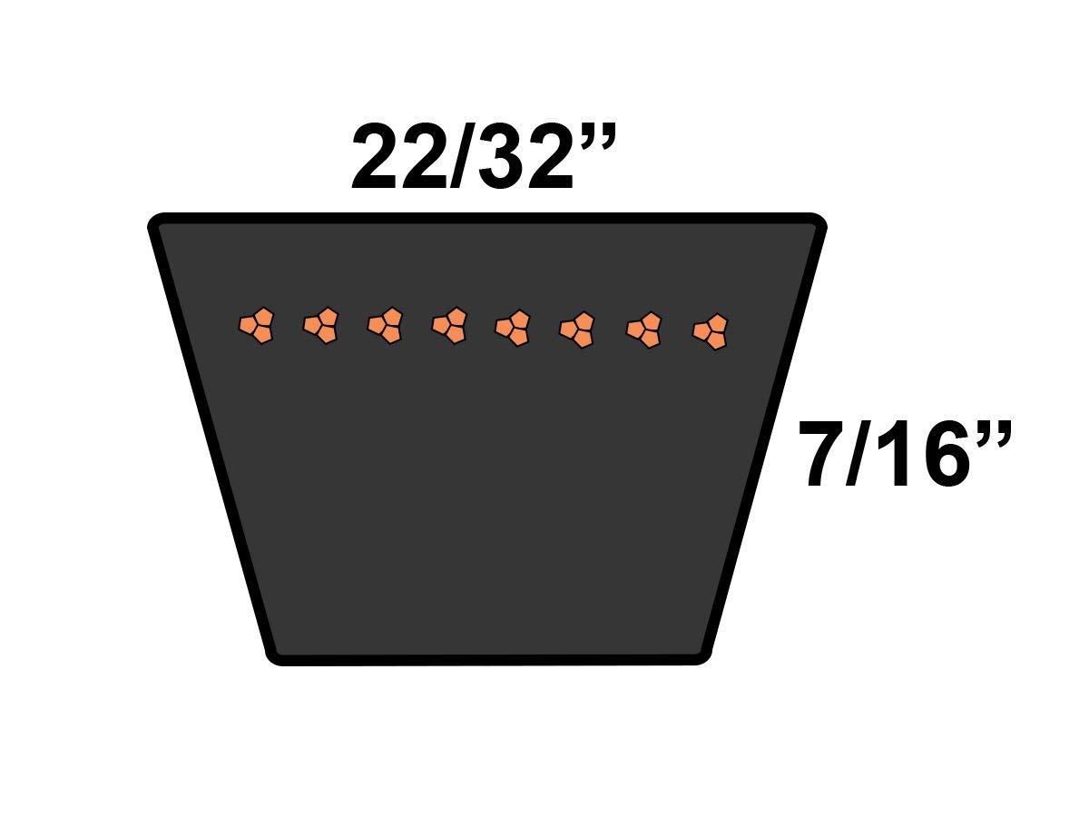 D/&D PowerDrive 390461R2 Case Ih Replacement Belt Rubber 52.64 Length 22