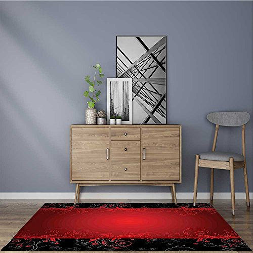 for Home or Travel Swirls Leaves with B Border Line Scarlet and Dark Brown Easier to Dry for Bathroom 22''x36'' by Muyindo