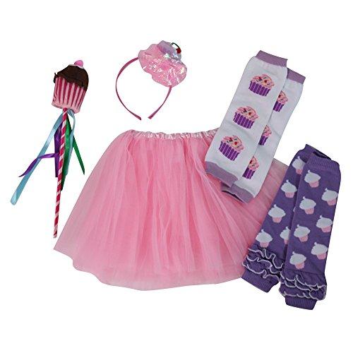 Girls Cupcake Fairy Princess Tutu, Leg Warmers & Wand Dress Up Set (Pink) (Cupcake Fairy Halloween Costume)