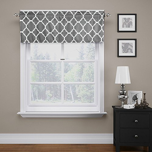 """Moroccan Mild Gray Valance Curtain Extra Wide and Short Window Treatment for for Kitchen Living Dining Room Bathroom Kids Girl Baby Nursery Bedroom 52"""" X18"""""""