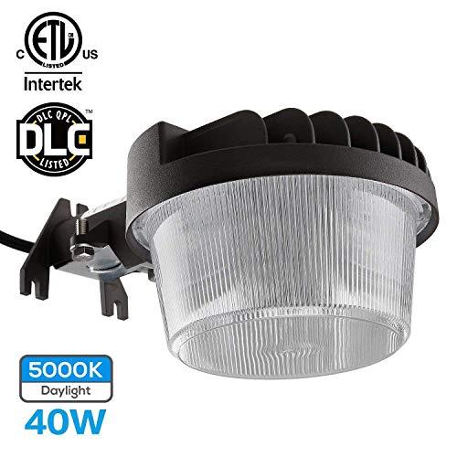 TORCHSTAR Dusk-to-Dawn LED Outdoor Barn Light (Photocell Included), 40W (300W Equiv.), 4800lm Ultra-Bright Area Light, 5000K Daylight, DLC & ETL-Listed Yard Floodlight, 5-Year Warranty